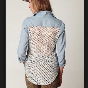 Free People Chambray and Crochet Back Buttondown